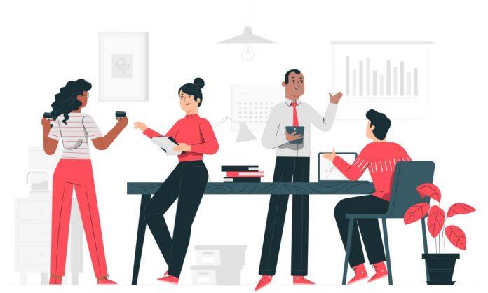 Desenho de colegas de equipe conversando em ambiente profissional, presente no guia sobre plano de saúde empresarial do blog da Sami