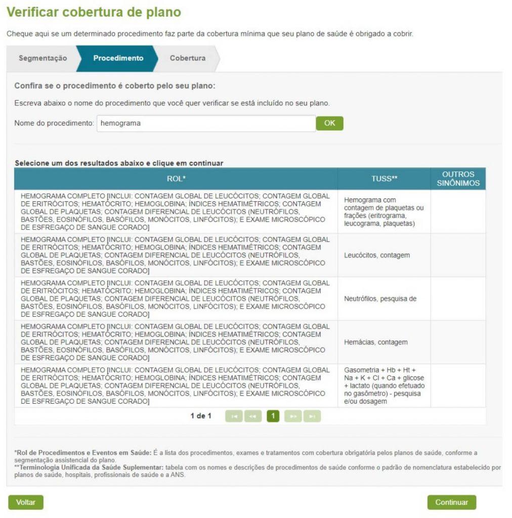 Ferramenta de consulta da ANS para verificar os procedimentos obrigatórios cobertos por cada tipo de plano - tela 4