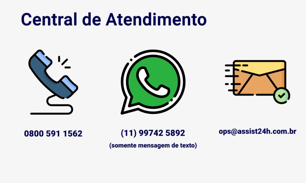 Central de Atendimento / Seguro-Viagem Membros Sami Sol: Telefone: 0800 591 1562 Whatsapp (somente mensagem de texto): (11) 99742 5892 E-mail: ops@assist24h.com.br