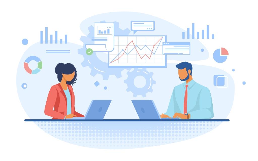 """Imagem de homem e mulher trabalhando, com a legenda: """"Na hora de escolher o plano para seu negócio, considere os diferentes perfis de funcionários"""""""