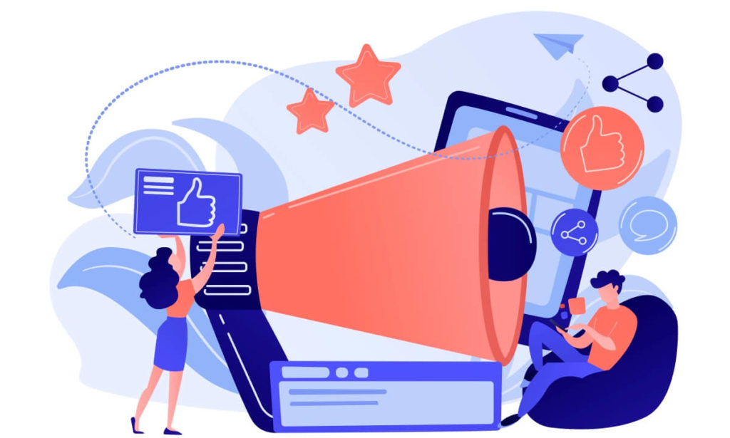 Ilustração mostra um megafone e ícones de likes e compartilhamento, simbolizando o poder das redes sociais de amplificar o alcance das fake news
