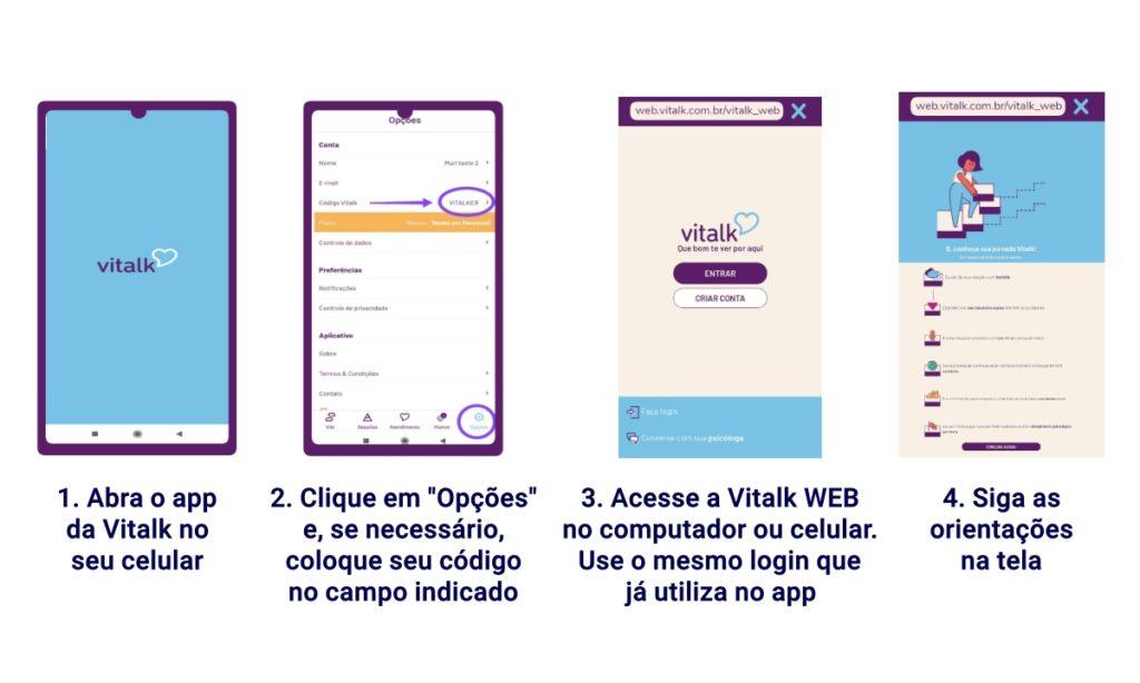 """Passo a passo para quem já usa o app da Viltalk, mas não fez o check-up recomendado pelo Time de Saúde: 1. Abra o app da Vitalk no celular 2. Clique em """"Opções"""" e, se necessário, coloque seu código no campo indicado 3. Acesse a Vitalk Web no computador ou celular, utilizando o mesmo login já usado no aplicativo.  Endereço da Vitalk Web é https://web.vitalk.com.br/vitalk_web 4. Siga as orientações na tela"""