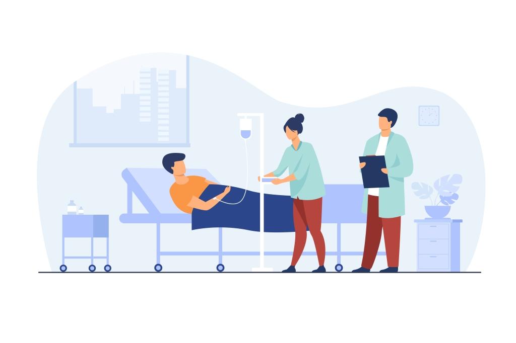 """Imagem de paciente internado com dois médicos prestando atendimento, com a legenda: """"A segmentação hospitalar garante internações"""""""