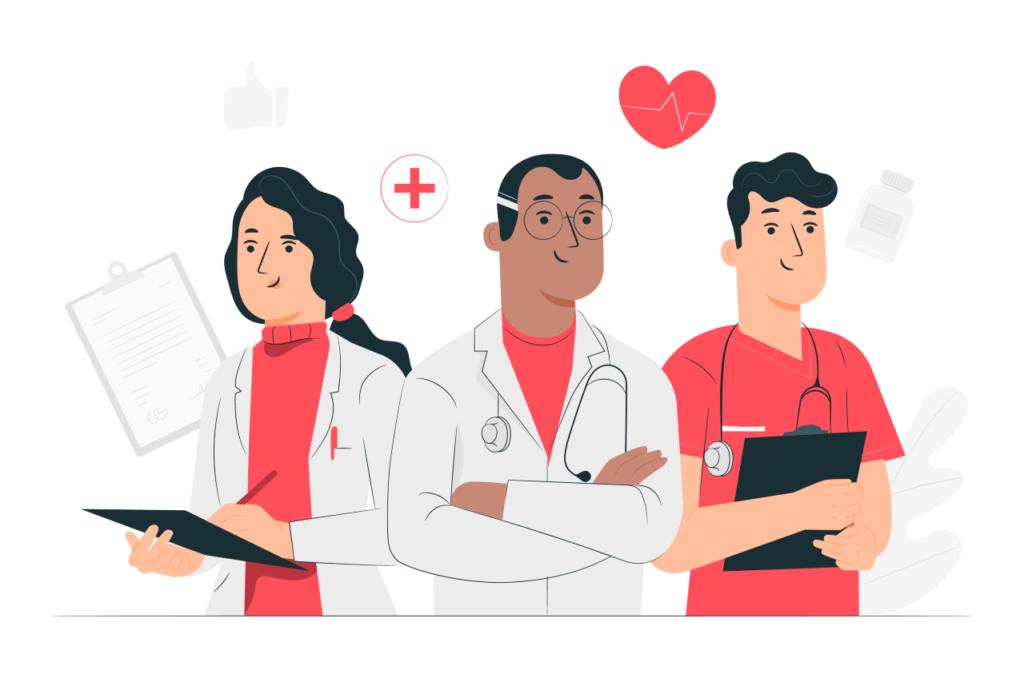 Imagem de médicos e enfermeiros, representando o conceito de segmentações assistenciais no plano de saúde, presente no texto sobre o tema no blog da Sami